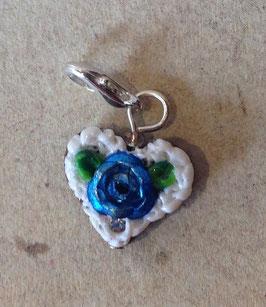 Charm Mini-Lebkuchenherzen Rose metallig blau