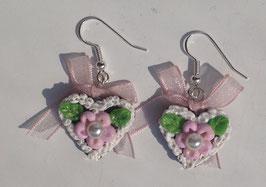 "Ohrring Lebkuchenherz ""Blume"" mit Perle rosa"