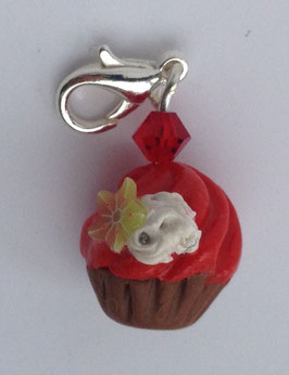 Charm Anhänger Cupcake rot mit Sternfrucht