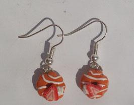 Ohrringe Donut orange mit gestreiften Zuckerguss und Erdbeere