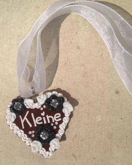 """Lebkuchenherz Kette gross """"Kleine"""" weiss-schwarz"""