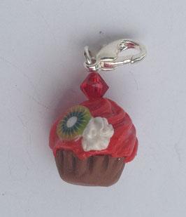Charm Anhänger Cupcake rot mit Kiwi