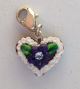 Charm Mini-Lebkuchenherzen Blume dunkel-lila