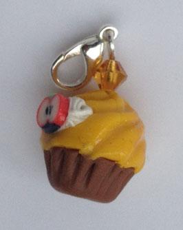 Charm Anhänger Cupcake gelb mit Apfeldeko