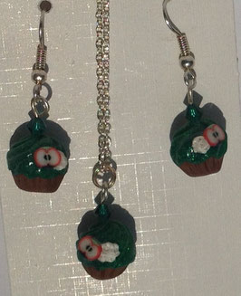 Set Cupcake dunkel-grün