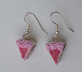 Ohrringe Tortenstück pink mit Liebesperlen
