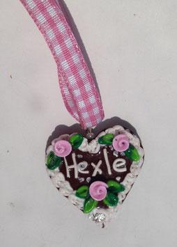 """Lebkuchenherz Kette """"Hexle"""" rosa"""