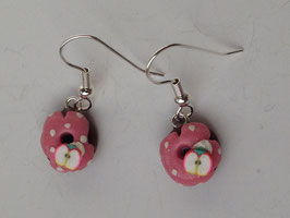 Ohrringe Donut Pünktchen rosa