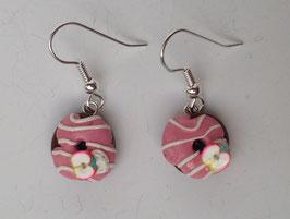 Ohrringe Donut rosa mit Zuckerguss Streifen und Apfel