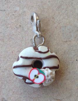 Donut Charm Anhänger weiss mit Apfel