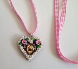 Lebkuchenherz Kette Eule rosa klein