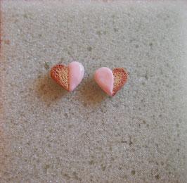 Ohrstecker Gebäck Herz rosa, Herzchen pastellfarben, Ohrringe Cookie, Keks