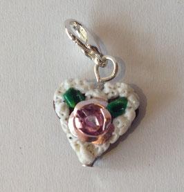 Charm Mini-Lebkuchenherzen Rose metallig rosa