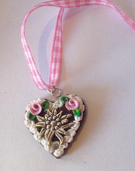 Lebkuchenherz Kette klein Edelweiss rosa