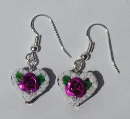 Ohrring Mini Lebkuchenherz lila