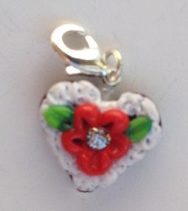Charm Mini-Lebkuchenherzen Blume hellrot