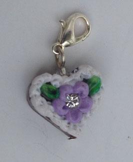 Charm Mini-Lebkuchenherzen Blume weiss