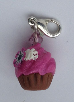 Charm Anhänger Cupcake rosa mit Blume