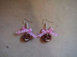 Ohrringe Brezel mit Schleife rosa