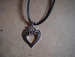 Kette Edelweiss im Herz schwarz