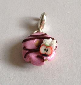 Charm Anhänger Donut rosa mit Apfel und Schoko