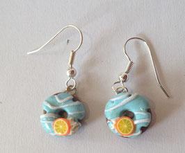 Ohrringe Donut hellblau mit Zuckerguss und Orange