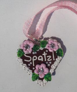 """Lebkuchenherz Kette gross """"Spatzl"""" rosa"""