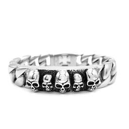 Edelstahl Armband mit Totenköpfe verziert   (A-031)