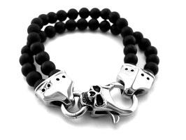 Onyx Armband mit Edelstahl Totenkopf Verschluss (A017)