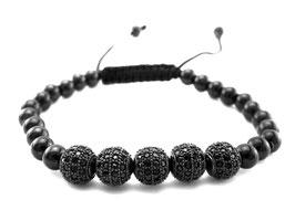 Damen Edelstahl Armband Design schwarz mit Strass Kugeln  (A070)