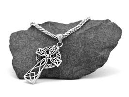 Keltisches Kreuz mit Zopfkette in verschiedenen Längen 50, 55, 60, 70 cm erhältlich! (K-A058)