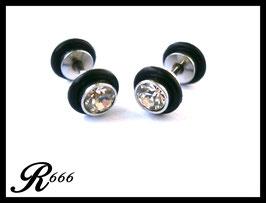 Fake Plugs mit weißen Strass Stein 1 Paar (F003)