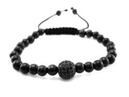 Damen Edelstahl Armband Design schwarz mit Strass Kugel  (A069)
