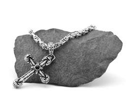 Edelstahl Königskette + Kreuz Set (K-A015s)