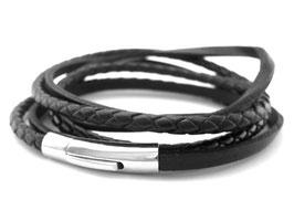 Lederarmband schwarz Bajonettverschluss Wickelarmband  (A079)