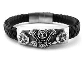 Edelstahl Armband V Motor Skull (A-037)
