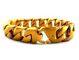 Edelstahl Panzerarmband gold brushed  (A-027)
