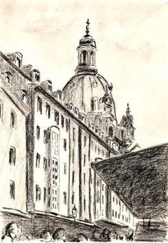 """Zeichnung """"Dresden In der Münzgasse"""""""