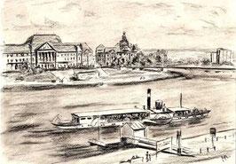 """Zeichnung """"Dresden Am Terrassenufer"""""""