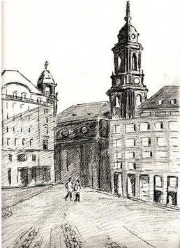 """Zeichnung """"Altmarkt Dresden"""""""