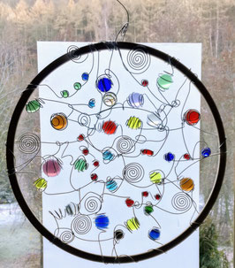 JOY. Circle of Colors. Glass Window-Panel. 60 cm (23.62 inches).