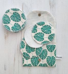 Disques à démaquiller lavables - Feuille verte