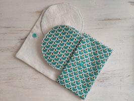 Coussinets d'allaitement lavables - Palme turquoise
