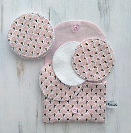 Disques à démaquiller lavables - Palme rose