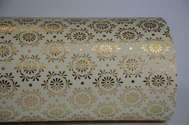 Gold Foil Flower on Creme Handmade Paper ±250gsm pack of 10 A4 sheets