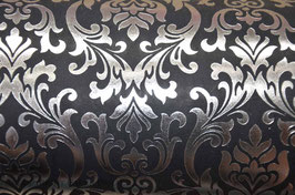 Silver Foil Baroque on Black Handmade Paper ±250gsm pack of 10 A4 sheets