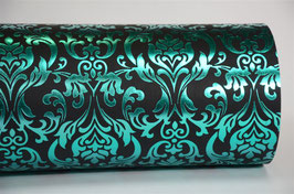 Turquoise Foil Baroque on Black Handmade Paper ±250gsm pack of 10 A4 sheets