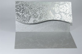 Silver Foil Readymade Invitation Cover Wavy Cut Pack of 10