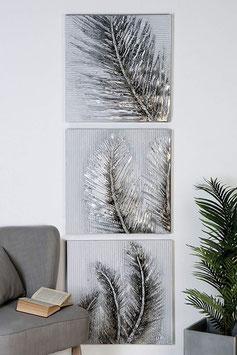 3er Set Bild Leaves