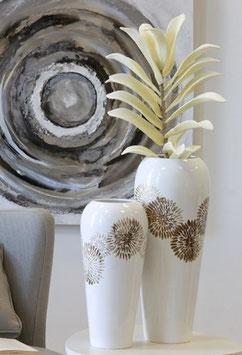 Blumenvase Bodenvase weiß/braun